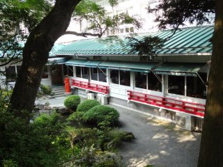 A view of Orchid lounge from the garden on the hill of Fujiya Hotel