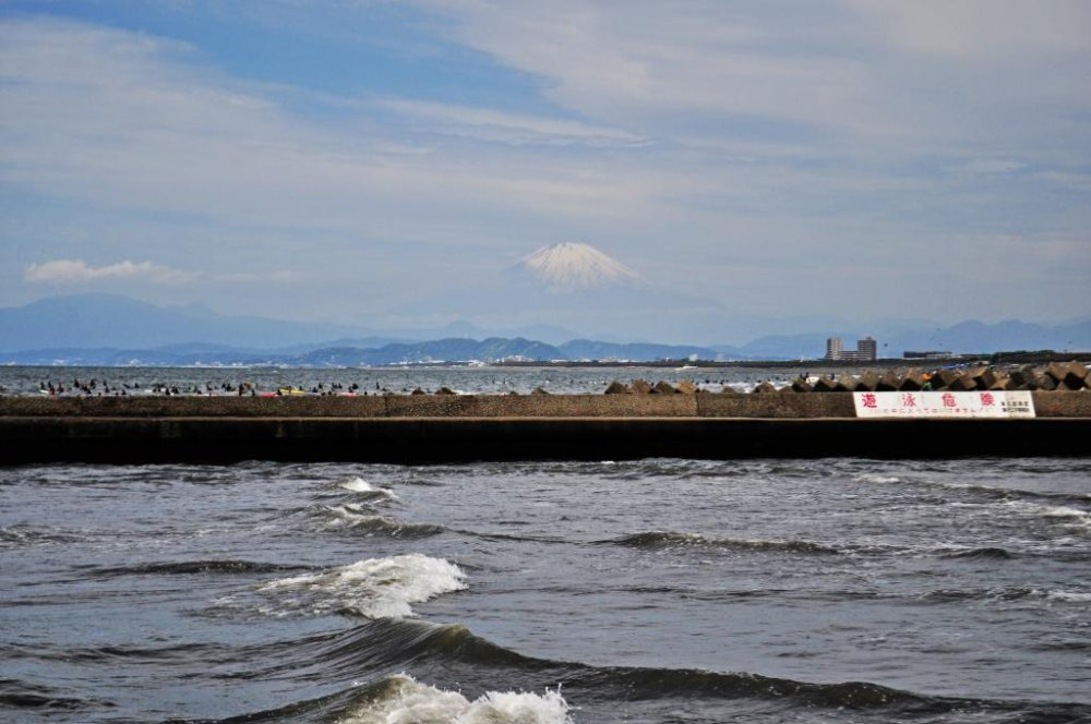 What better place to surf than one with a view of Mount Fuji