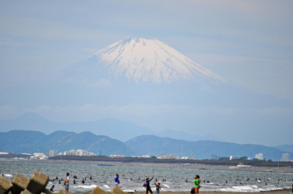 A view of Mount Fuji from the beach