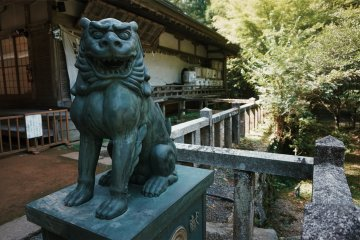 A lion guards the barrels of donated sake