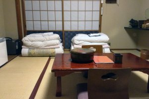 Rooms have slightly different layouts, but all focus on relaxation and comfort in a Japanese style environment.