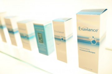 <p>Exuviance from NeoStrata is one product ranges Chika-san uses during the treatments</p>