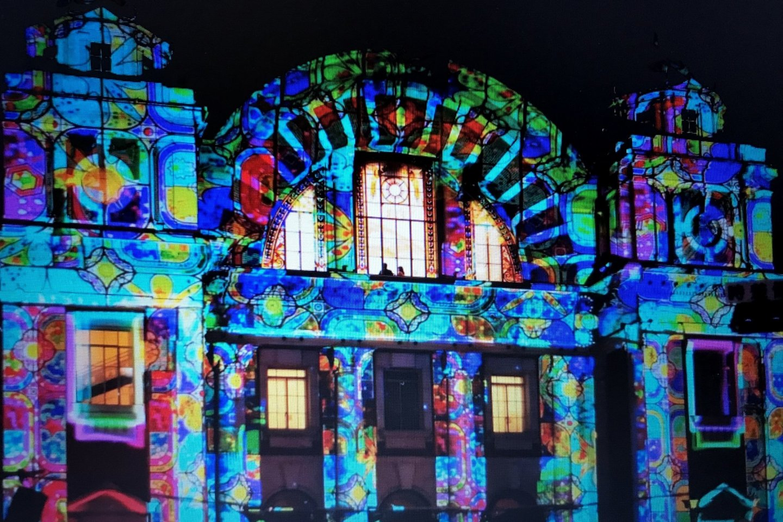 Trình chiếu ánh sáng nghệ thuật ở quận Dojimahama lịch sử