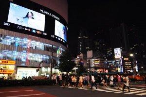 Huge screen above the pedestrian crossing
