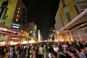 Chuo-dori closed to traffic during the Tokasan Yukata Festival