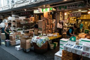 Old iconic street stall style shops in Tsukiji