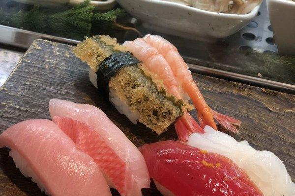 Marinated tuna, seared salmon and seared fluke fin