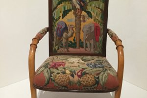 Armchair designed by Rene Prou and original drawing for tapestry by Edmond Tapissier, 193