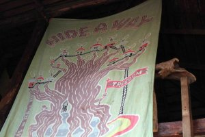 The large Hideaway flag covers the upper treehouse area. Climb up the ladder and get a view from the top.