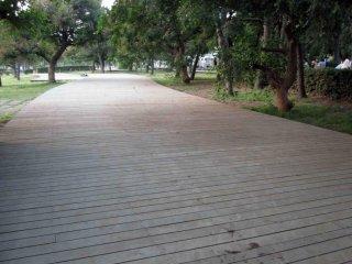 Lối đi bộ rộng rãi nối dài khắp công viên.