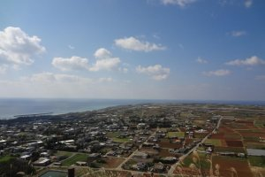 Scenic view from the top of Mount Gusuku where you can see mainland Okinawa in the horizon