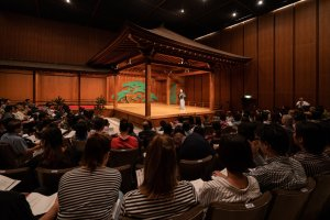 Professor Richard Emmert hosts the workshop at the stage of Roppeita XIV Commemorative Noh Theatre
