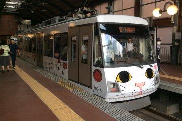 Lucky cat themed tram