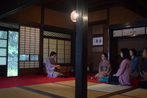 The gorgeous interior of one of the tea ceremony buildings