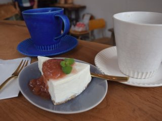 Coffee and a slice of their home made cheesecake with strawberry sauce - heavenly!