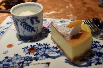 Delicious cheesecake served on Arita Pottery