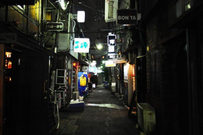 The narrow alleyways of Golden Gai.