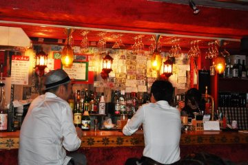 Inside the bar with the furry walls.