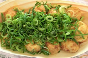 Takoyaki with green onion and ponzu sauce