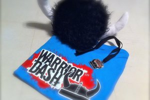 All Warrior Dash participants will receive a furry viking helmet, t-shirt and shiny finisher medal
