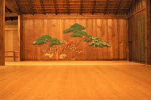 Traditional pine tree design on the noh stage