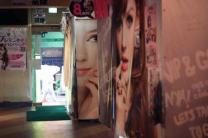 Inside the purikura arcade there two rows of photo booth machines available.