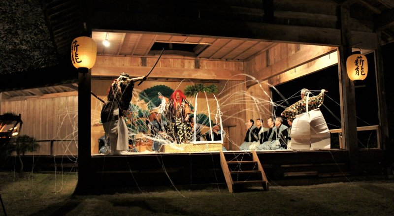 A performance on Sado Island, one of the homes of noh theatre