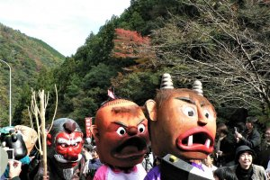 Some of the colourful yokai characters on parade