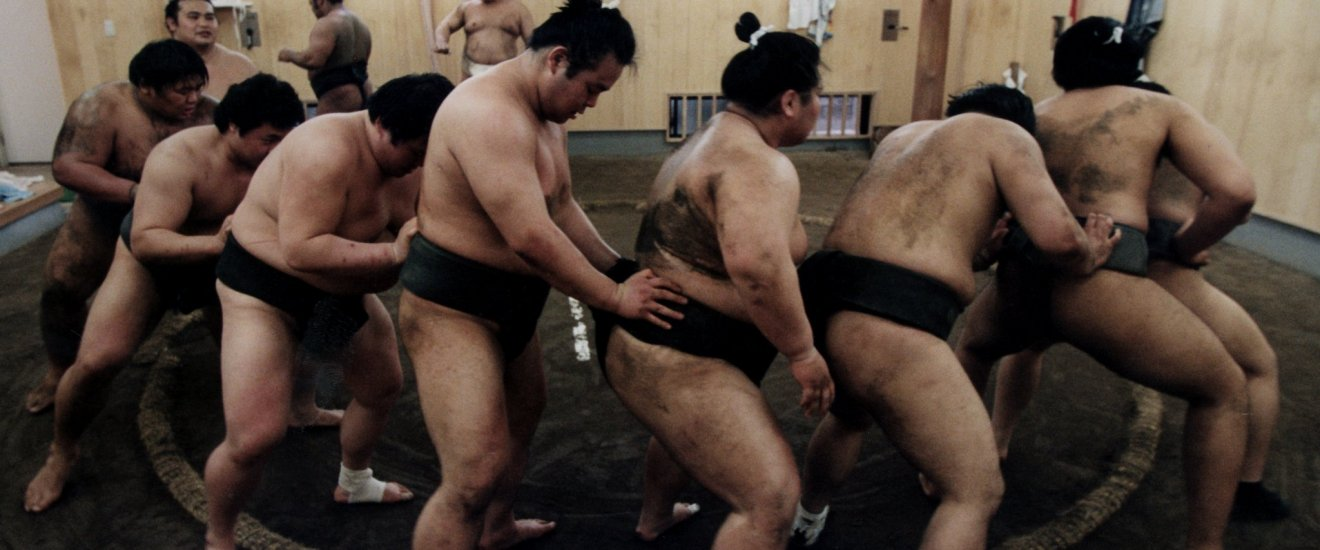 Wrestlers in training action