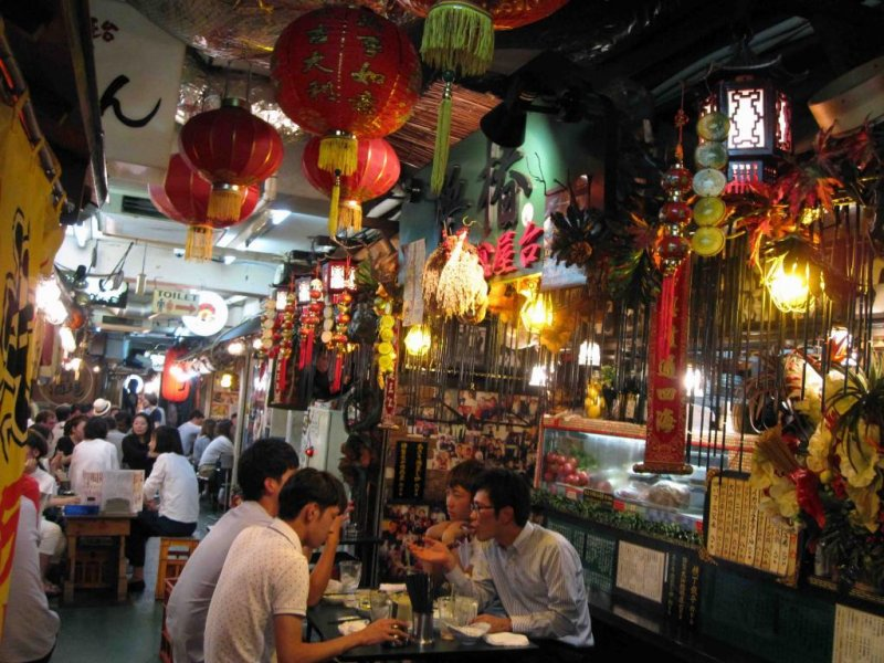 Diners gather at the Chinese small-plates food stall.