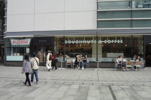 KrispyKreme Doughnuts is good. It is on the second floor of Queen's Tower A near the Landmark Tower in Minato Mirai.