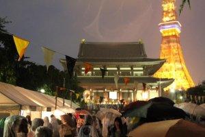 Zozoji Temple and Tokyo Tower at night