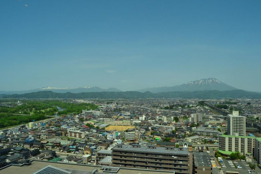 Mount Iwate (2040m) that stands prominently to the west of Morioka City.