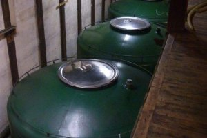 The tanks of sake at Imayotsukasa brewery; each holds 9,000 litres of sake!