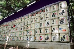 Barrels of sake, which are usually donated to the shrine