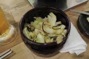 口直しの白菜の漬物