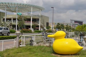 AEON Laketown's duck symbol, with different versions around the site