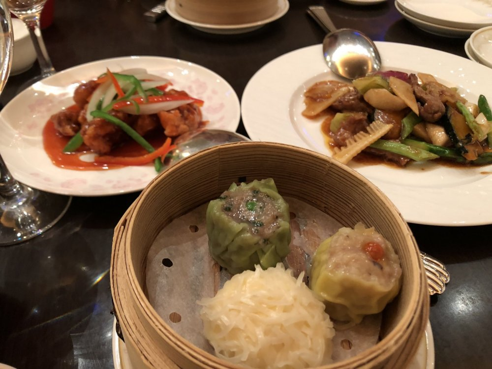 3 kinds of yum cha and main dishes