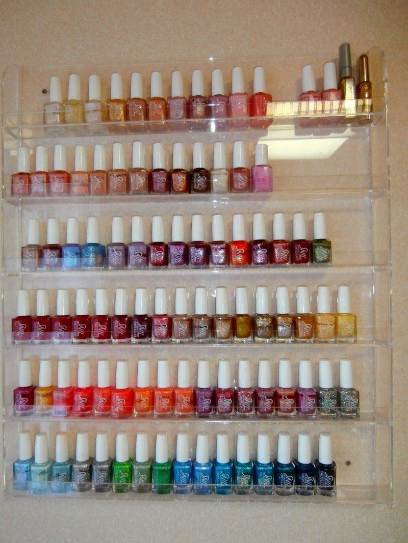 All types of nail polish displayed