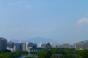 The terrace deck also offers a great view of Hiroshima Castle