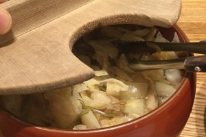 Burdock and ginger pickles which aid digestion