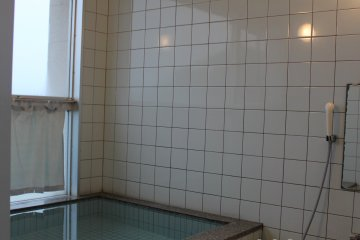 The private onsen bath in the Seapa accommodation