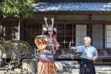 Japanese sword training in ancient armor