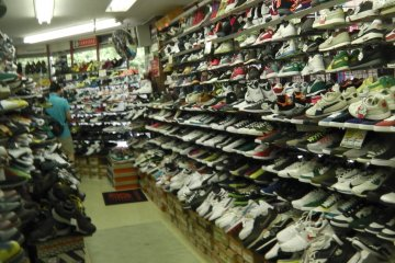 Rows of athletic shoes