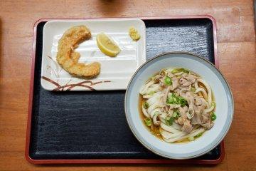 Sanuki udon with a side of tempura pumpkin