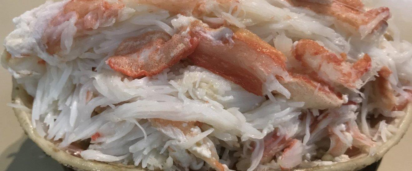 Preparing the crab meat