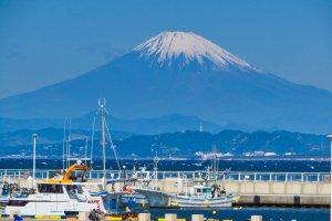 Close up of Mt. Fuji from Enoshima Island