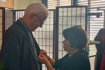 Being fitted for Samurai Outfit