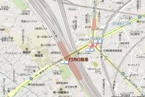 This map shows the location of the exits and the JR station above.