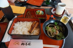 The bento box served at the Somaro teahouse